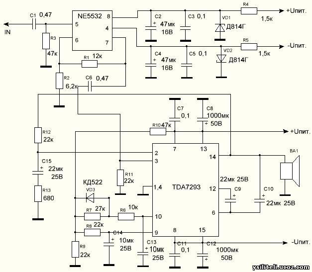 Вт на микросхеме TDA7293 с